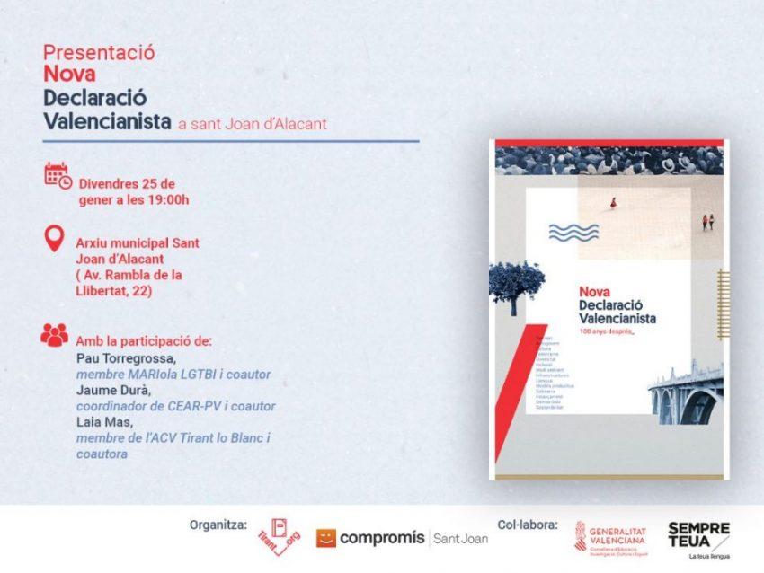 Nova Declaració Valencianista: presentació a Sant Joan d'Alacant